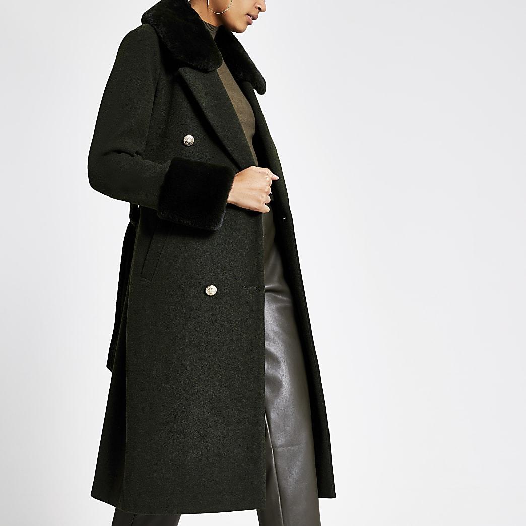 Khaki faux fur collar tie waist coat