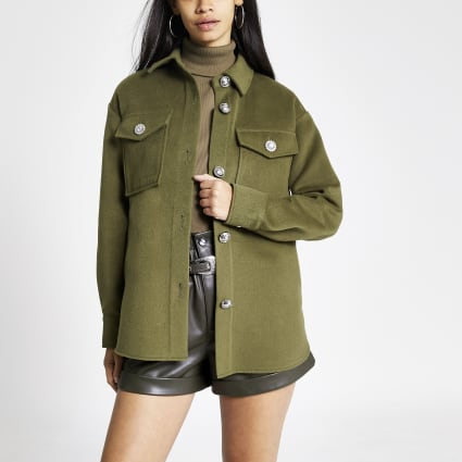 Khaki button front overshirt