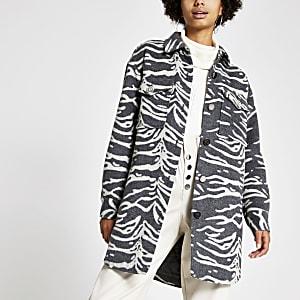 Graues Oberhemd mit Zebramuster