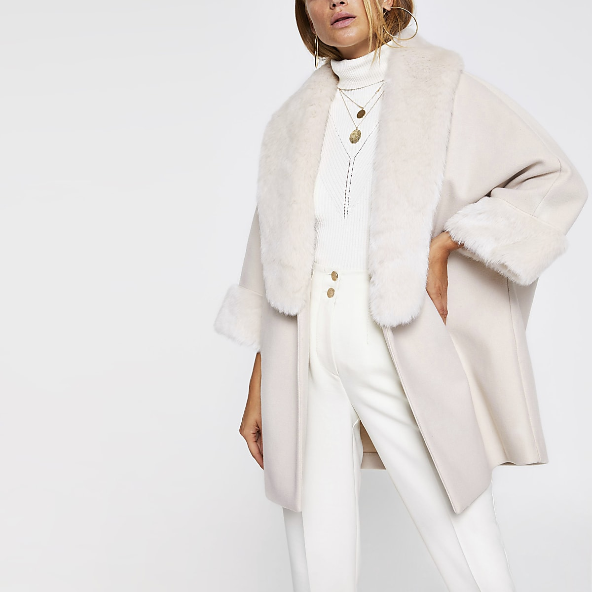 Beige faux fur trim cape coat