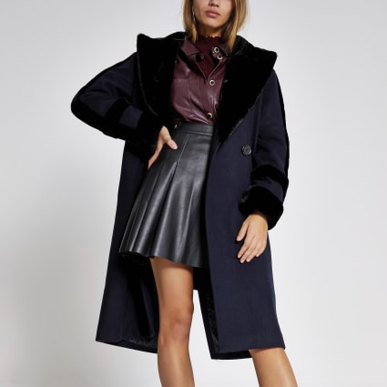 Navy faux fur trim double breasted coat