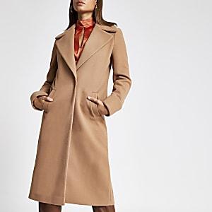 Langer Mantel mit Rollärmeln in Beige