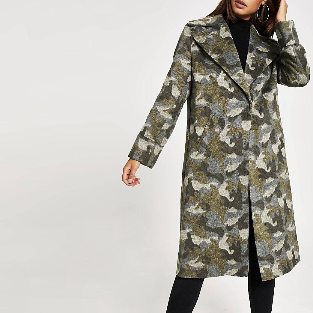 Grijze lange jas met camouflageprint