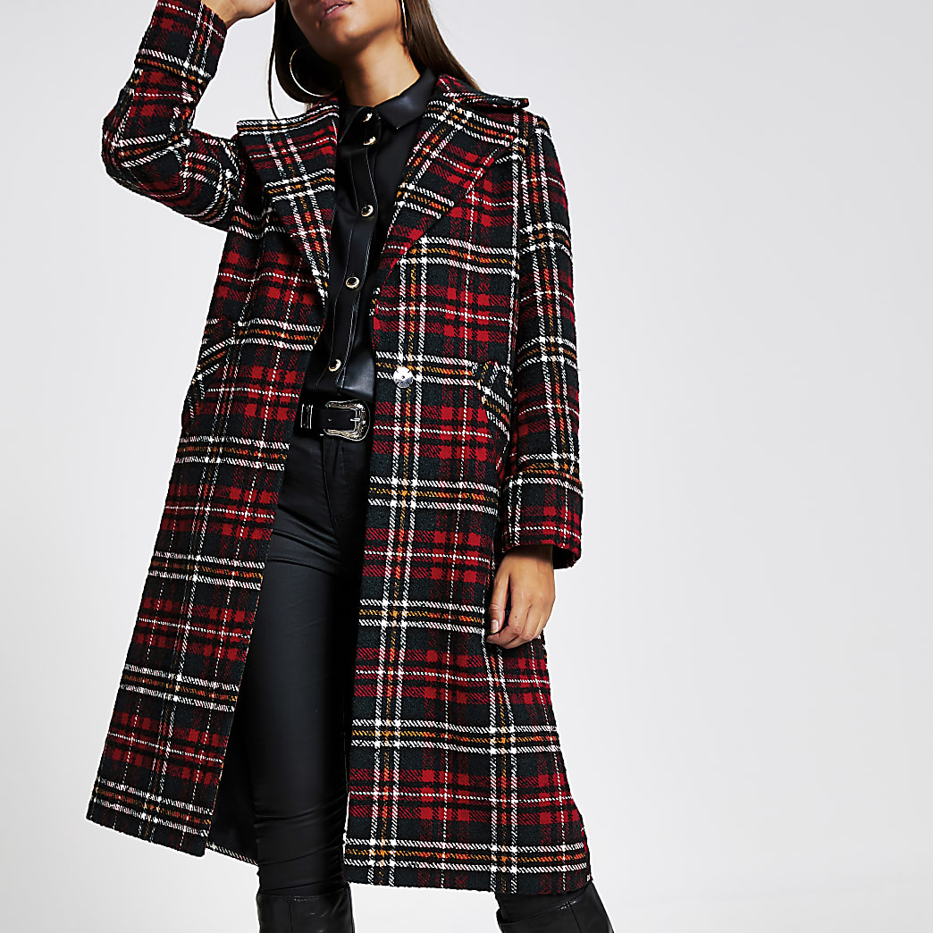Red tartan check longline coat