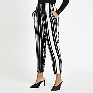 Black stripe print drawstring peg leg pant