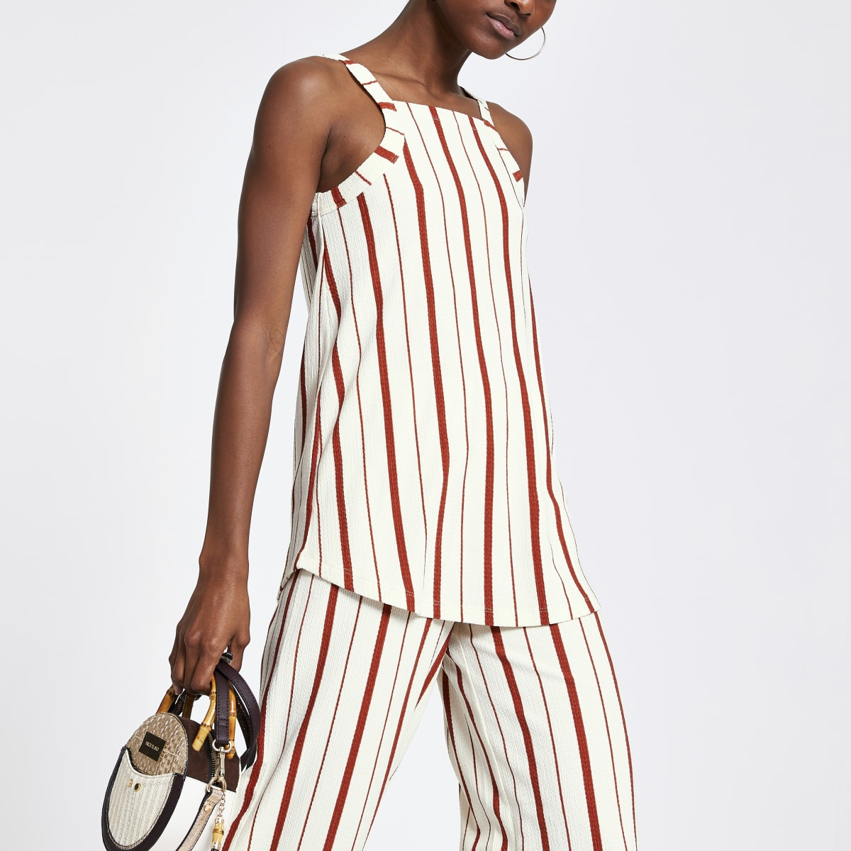 Orange stripe loose fit tunic top