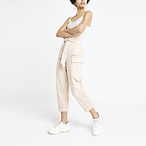 Pink utility peg pants