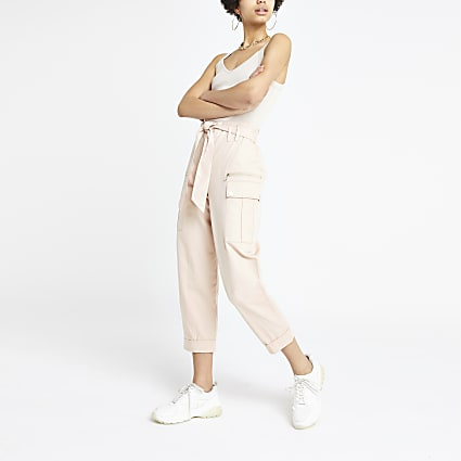 Pink utility peg trousers