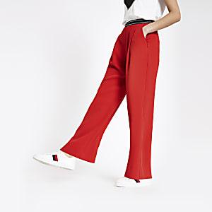 Pantalon large rouge à taille élastique