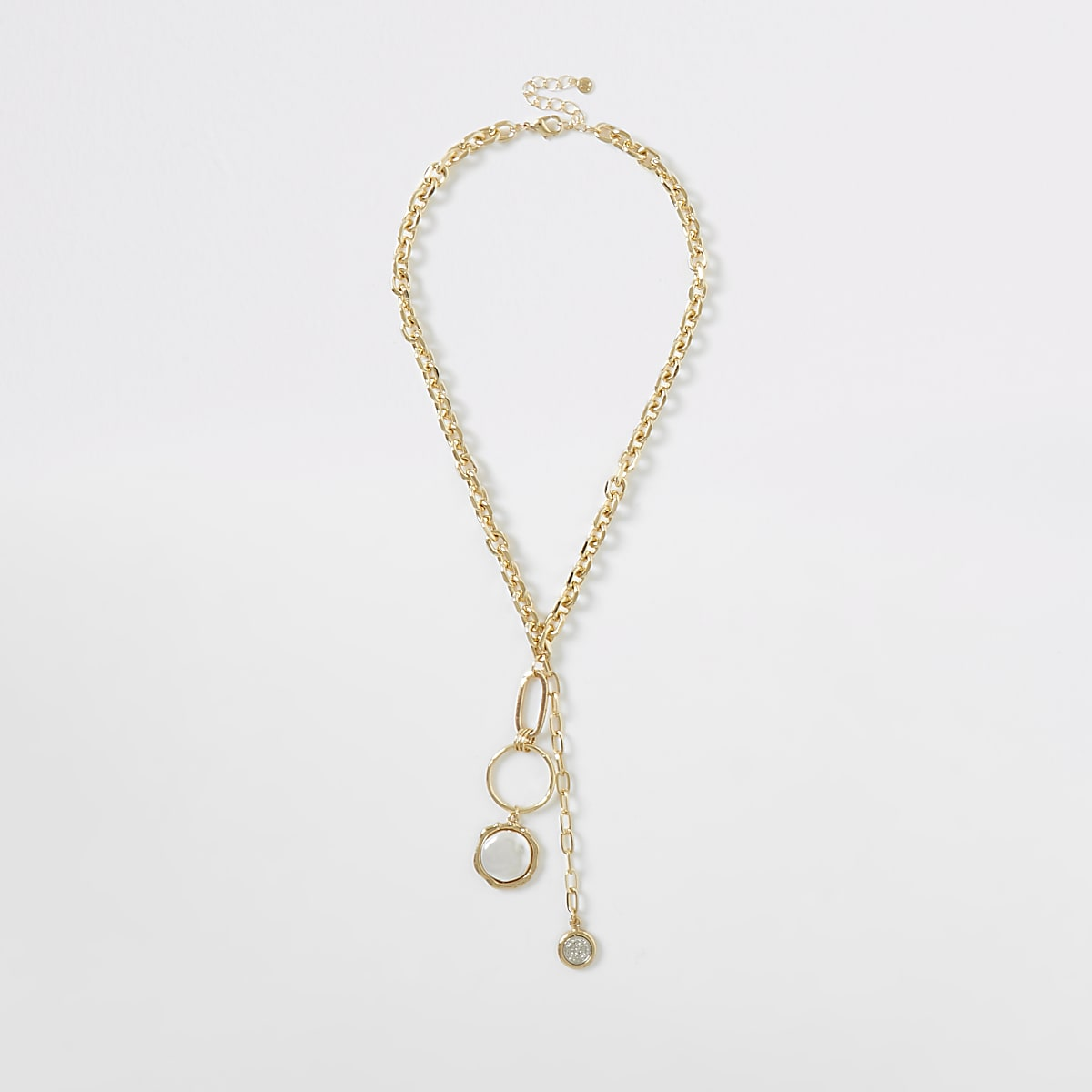 Gold color chunky pearl necklace