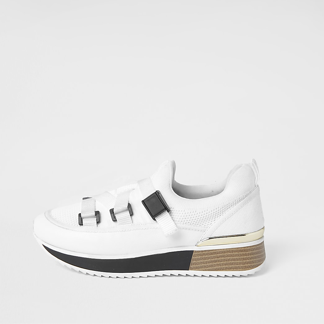 White strappy runner trainers