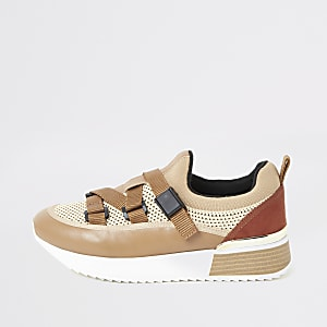 Beige strappy runner trainers