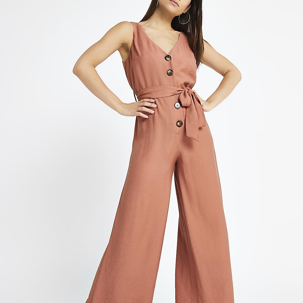 Petite pink tie waist jumpsuit