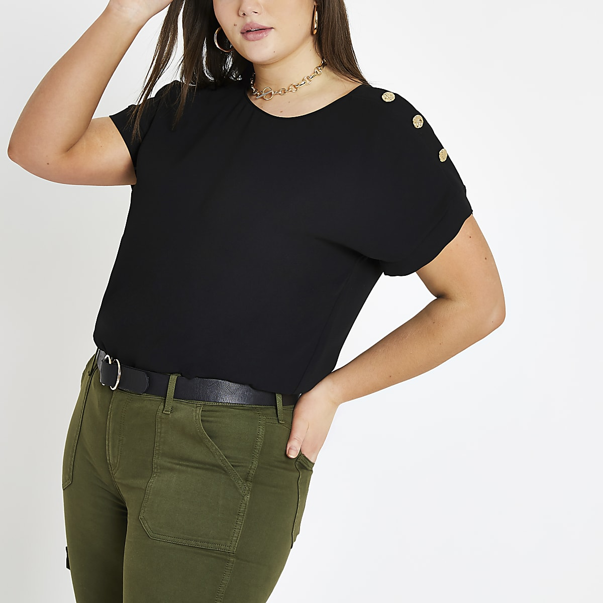 Plus black button detail T-shirt