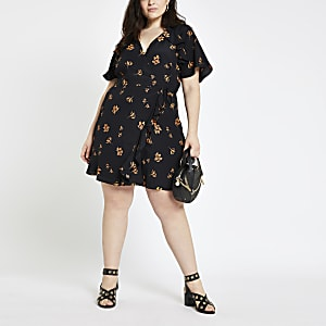 Plus black floral print tea dress