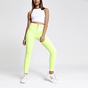 Neon green Kaia high rise disco jeans