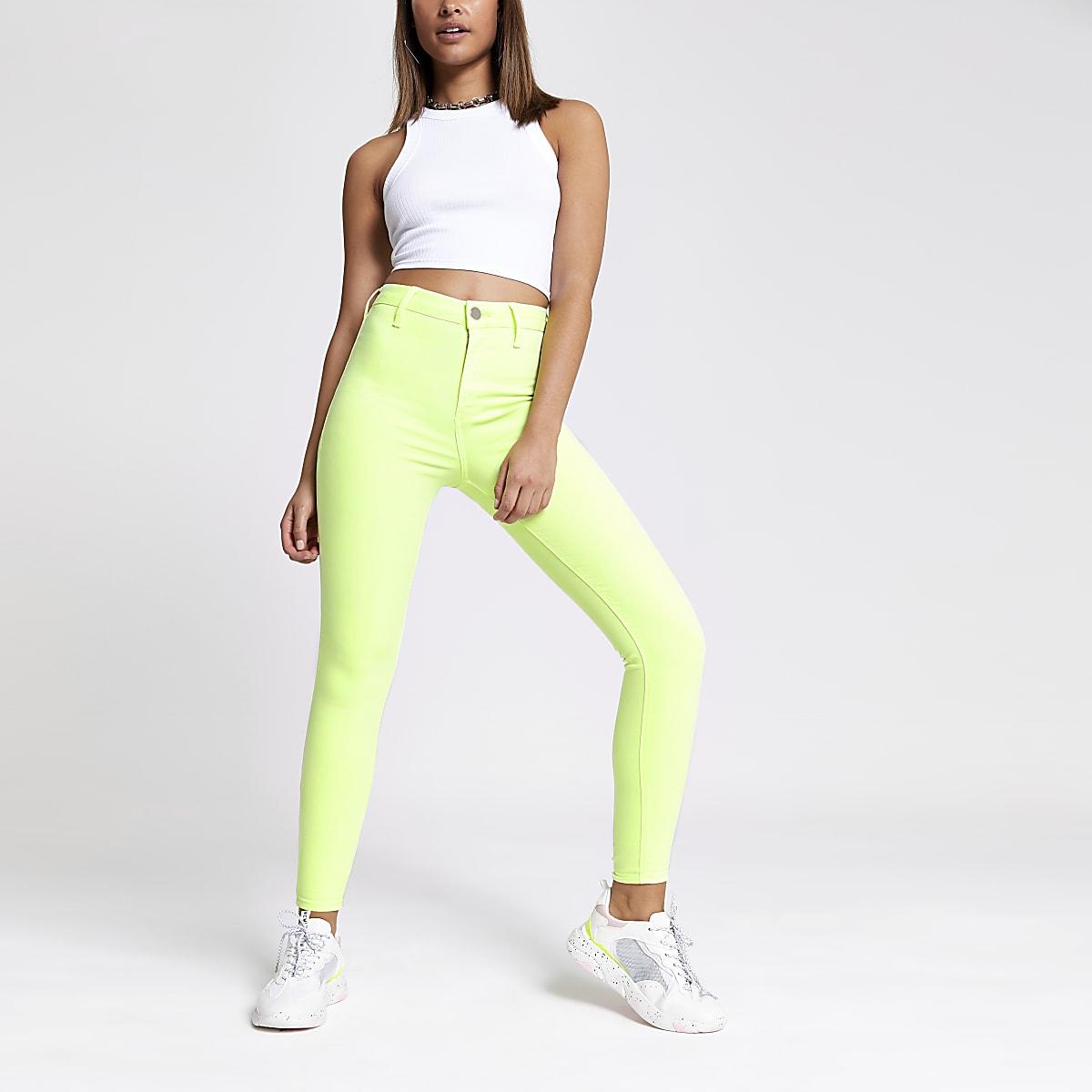 Neon green Kaia high rise disco jeans