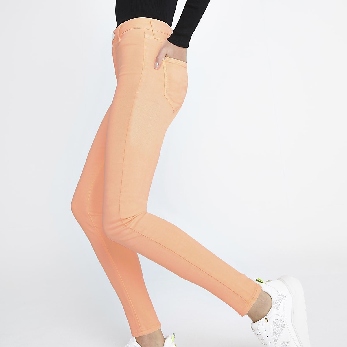Neon orange Kaia high rise disco jeans