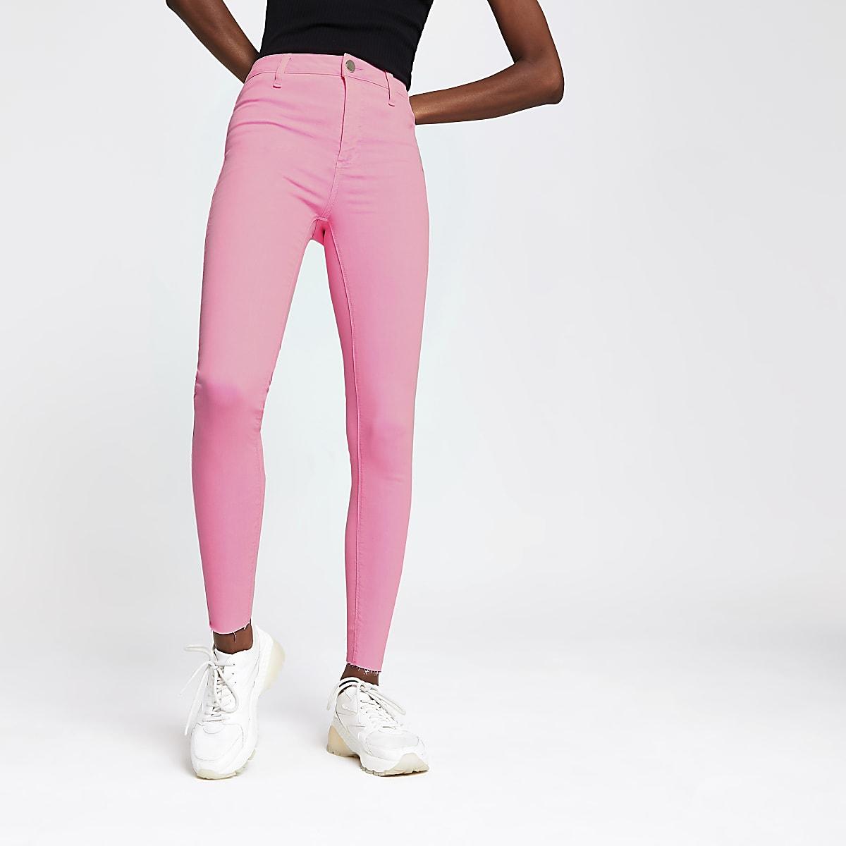 Neon pink Kaia high rise disco jeans