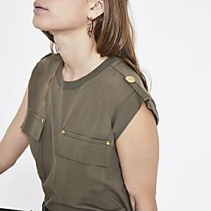 Petite khaki utility T-shirt