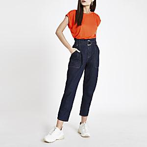 T-Shirt mit Fake-Knöpfen in Orange