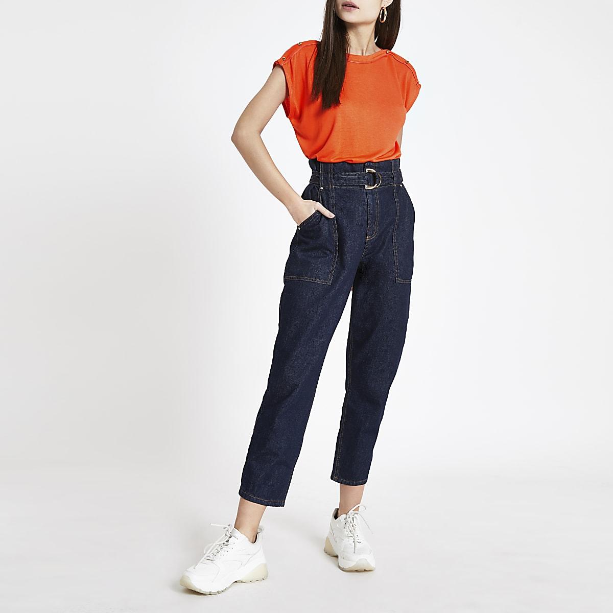 Oranje T-shirt met sierknopen