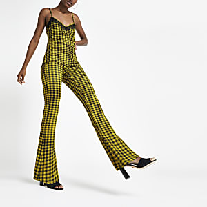 Yellow check flare trousers