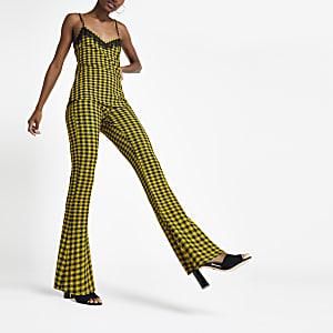 Pantalon évasé à carreaux jaune