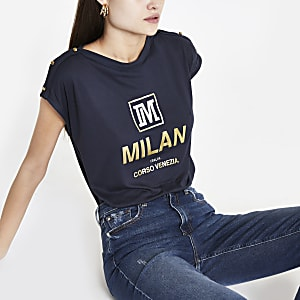 Navy 'Milan' faux button T-shirt
