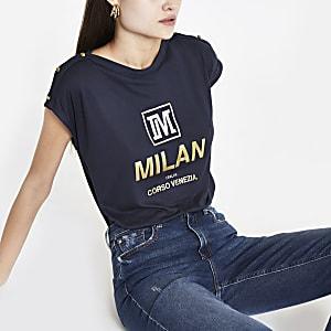 Navy 'Milan' faux button T-shirt