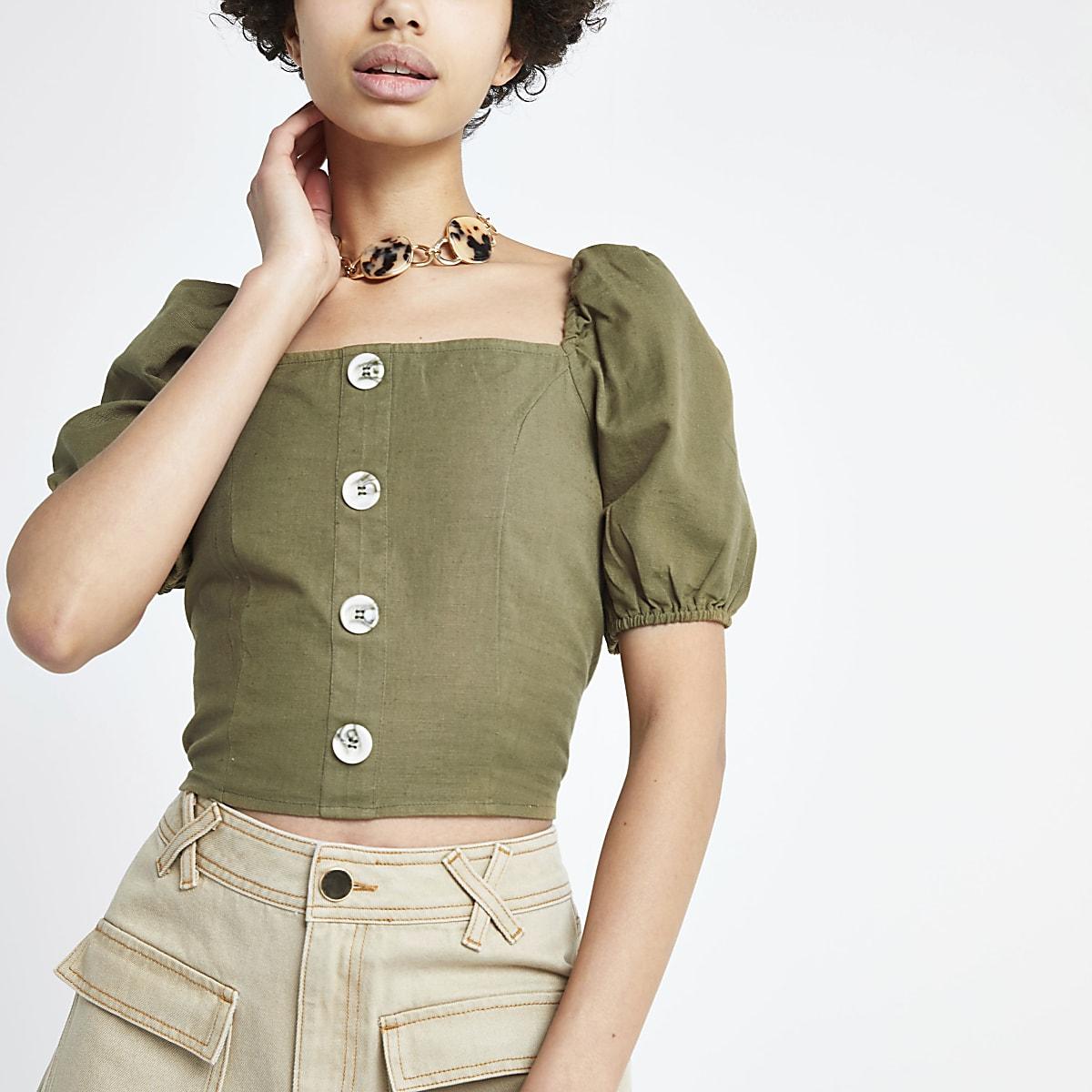 Khaki square neck puff sleeve top