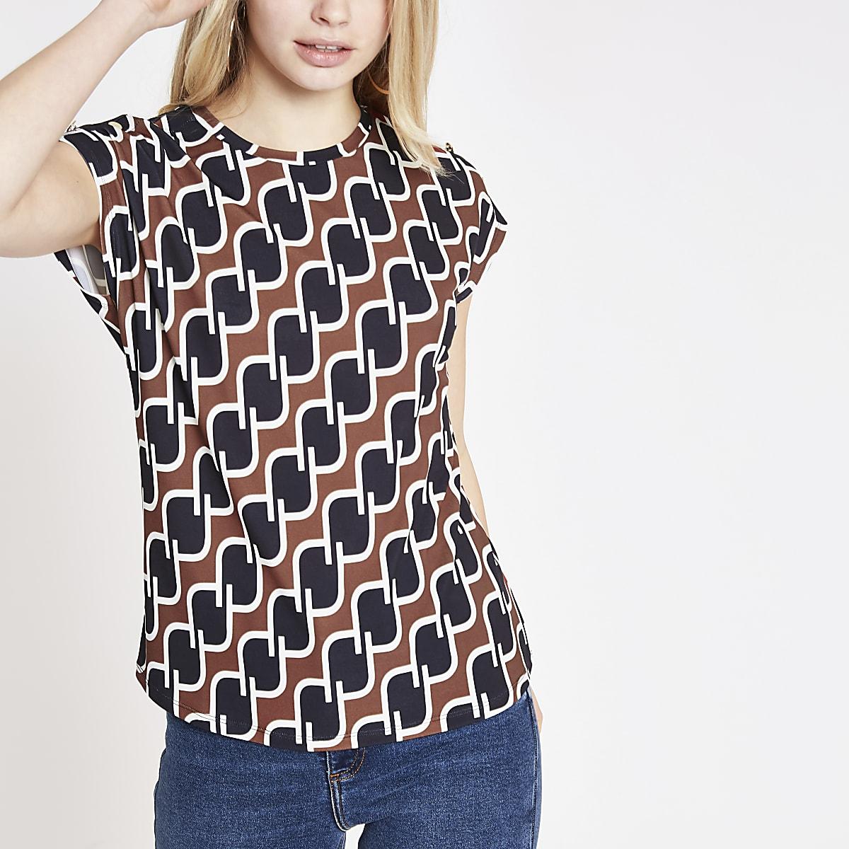 Bruin T-shirt met geometrische print en knopen