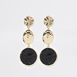 Gold colour croc drop earrings