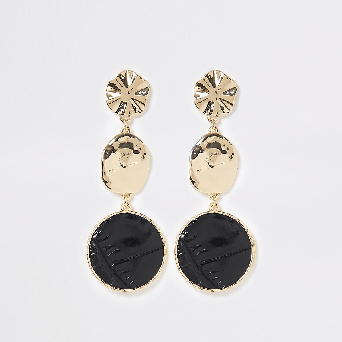 Gold colour croc drop earrings