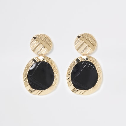 Gold colour textured drop earrings