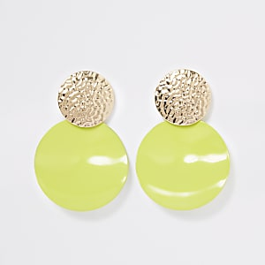 Neon green textured drop earrings