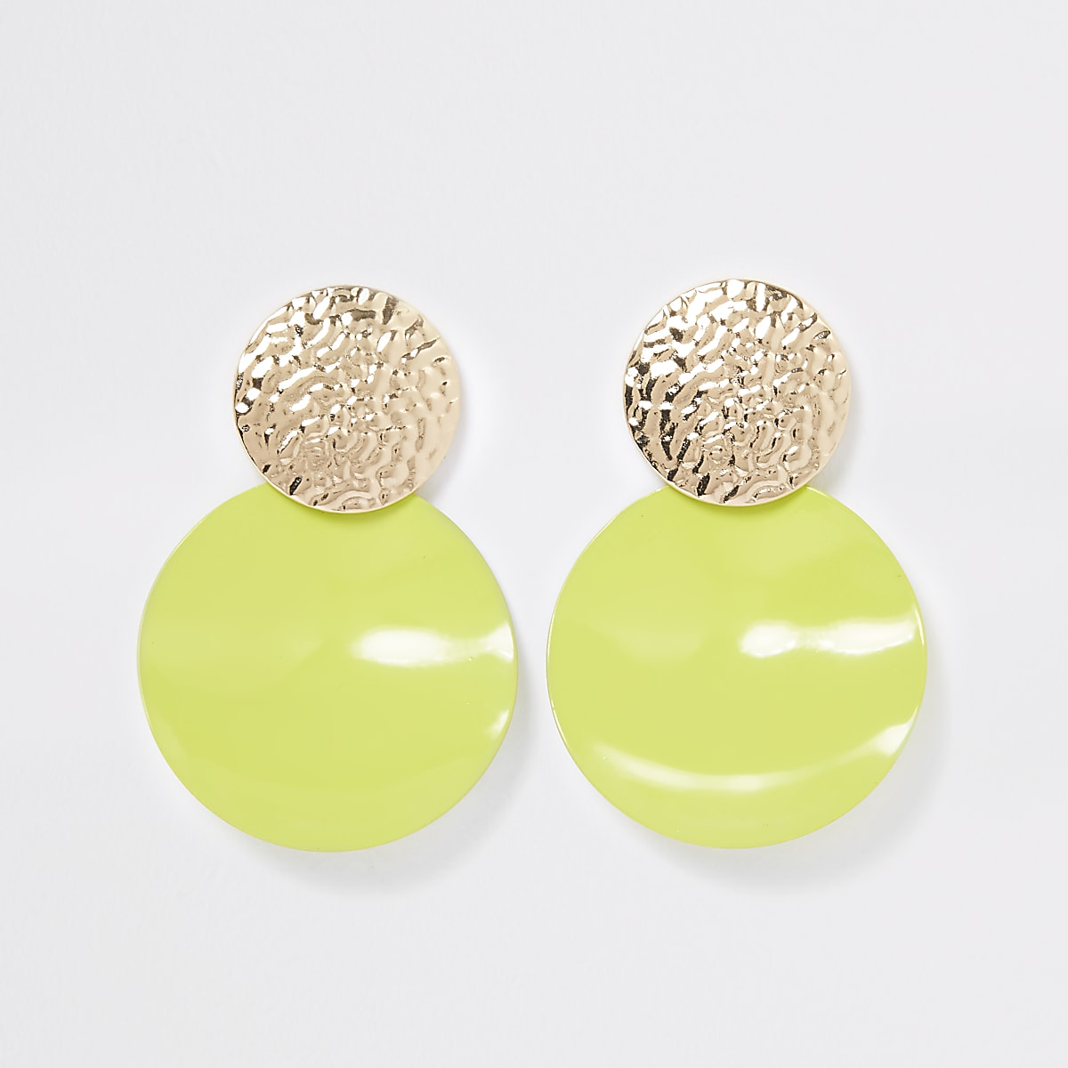 Neon green textured drop earrings