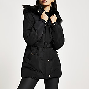 Black faux fur hood belted puffer jacket