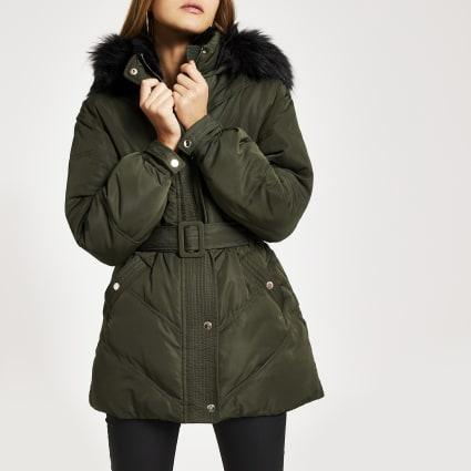 Khaki faux fur hood belted puffer coat