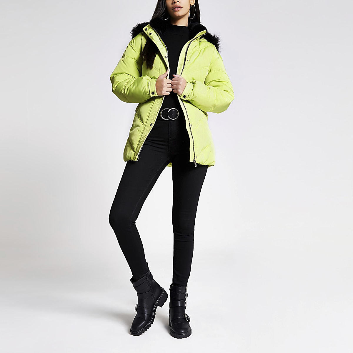 Yellow faux fur hood belted puffer jacket