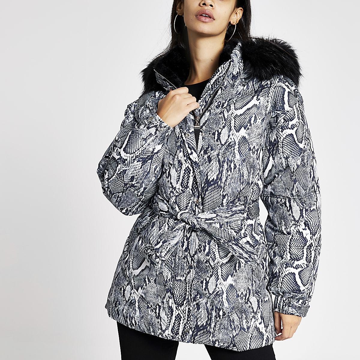 Grey snake print belted puffer jacket