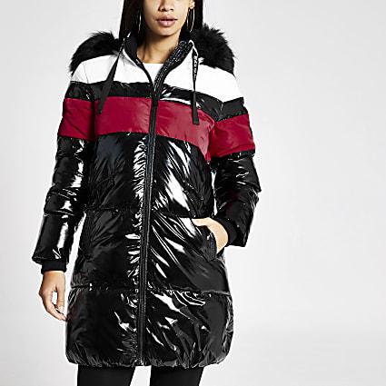 Black colour blocked longline puffer jacket