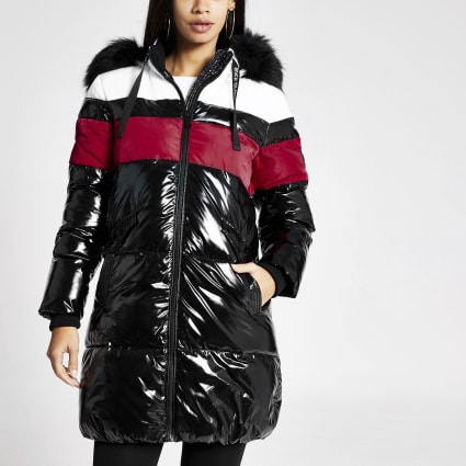 Black colour blocked longline puffer jacket