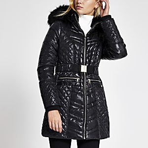 Black high shine padded longline jacket
