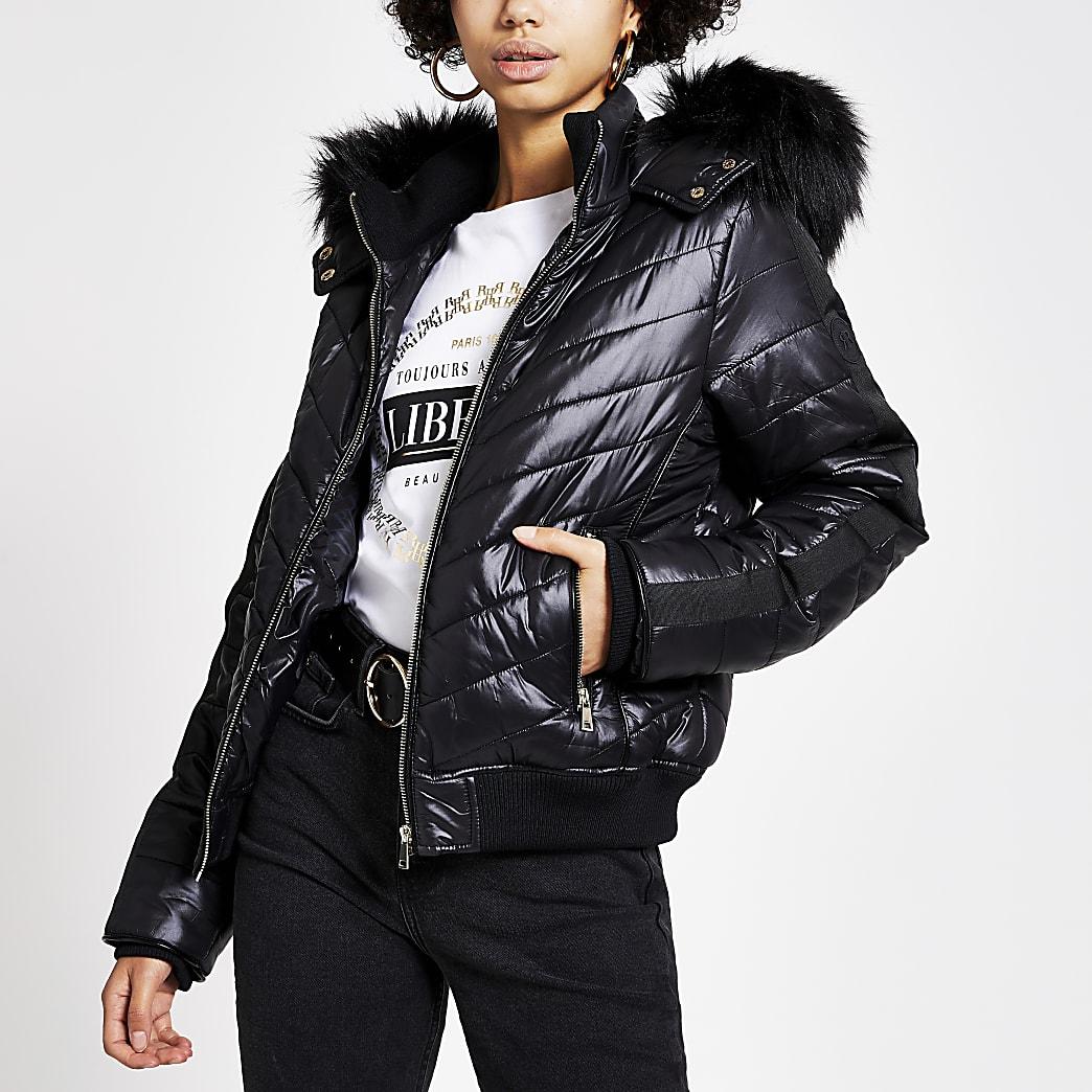 Black high shine padded bomber jacket
