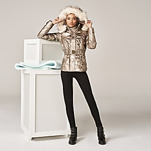 Bronze metallic fitted padded jacket