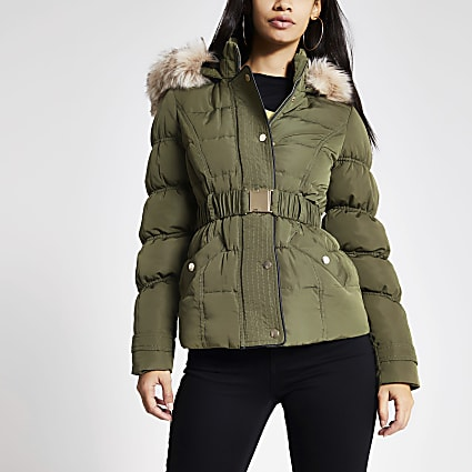 Khaki faux fur hood quilted jacket