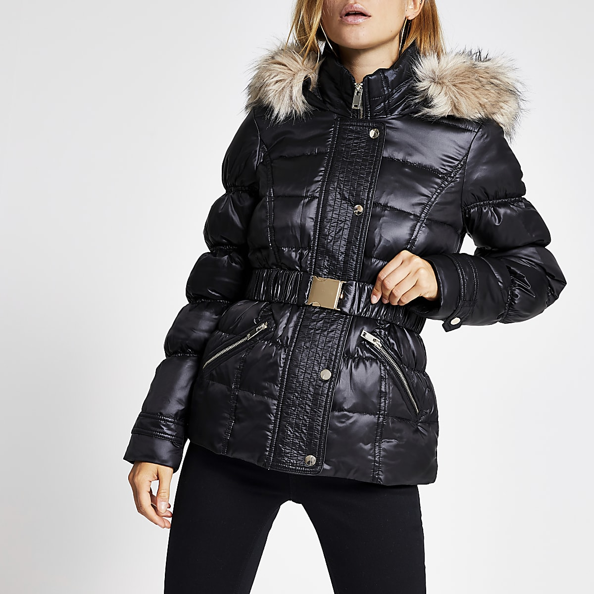 Black quilted faux fur hood belted jacket