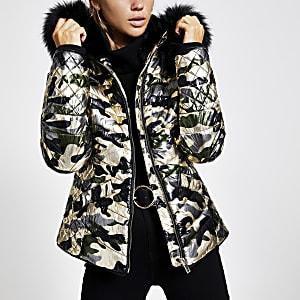 Kaki metallic gewatteerd jack met camouflage-print