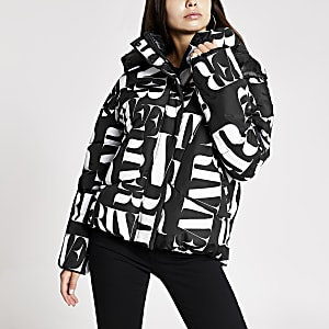 Black RI printed puffer jacket